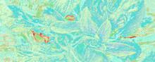 Azure Plant Print. Ice Botany Backdrop. Green Woman Design. Bright Trendy Wallpaper. Blue Dynamic Print. Pastel Fantasy Banner. Orange Abstract Panorama.