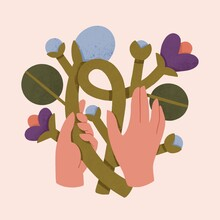 Hands Holding Plants Self-care Nature