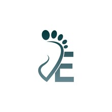 Letter E Icon Logo Combined With Footprint Icon Design