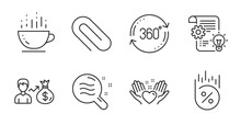 Paper Clip, Coffee Cup And Sallary Line Icons Set. Loan Percent, Hold Heart And Cogwheel Signs. Skin Condition, Full Rotation Symbols. Attach Paperclip, Hot Drink, Person Earnings. Vector