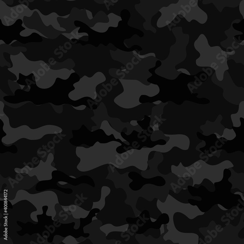 Canvastavla Camouflage black template vector military background trendy street style