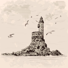 Lighthouse On The Rocky Seashore. Seagulls Fly Over The Cliff. Hand Drawing On A Beige Background.