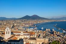 Italy, Campania, Naples, Certosa Di San Martino Museum And Harbor In Gulf Of Naples With Mount Vesuvius In Background