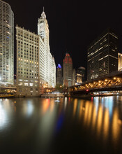 DuSable Bridge Over River With Urban At Night Skyline, Chicago, USA