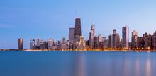 Illuminated View Of Chicago Skyline At Dusk, USA