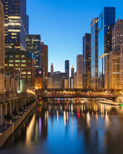 Wells Street Bridge Over Chicago River In City At Dusk, Chicago, USA