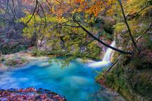 Beautiful River Source In Urbasa And Andia National Park, Navarra. Spain
