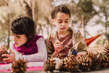 Cute Girls Decorating Pine Cones With Watercolor Painting At Table In Park