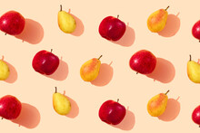 Pattern Of Fresh Pears And Apples