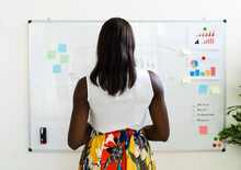 Businesswoman Making Business Strategy While Standing By Whiteboard At Office