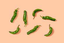 Studio Shot Of Green Chili Peppers