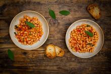 Two Bowls Of Italian Fagioli Alluccelletto