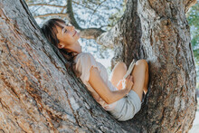 Mature Woman Relaxing On Tree In Public Park