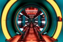 3D Rendered Illustration Interior Of Space Station Corridor