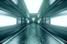 3D Rendered Illustration, Interior Of Futuristic Spaceship Corridor