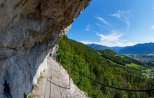 Austria, Upper Austria, Bad Goisern Am Hallstattersee, Steep Mountainside Trail Of Eternal Wall