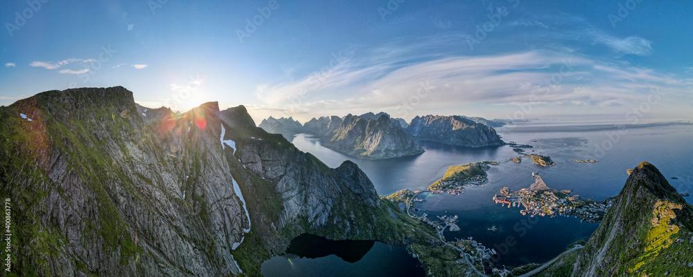 Landscape scenery of mountain at Reine, Lofoten, Norway