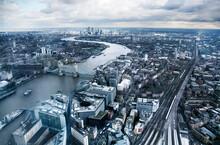 United Kingdom, London, Canary Wharf, Tower BridgeÔøΩand River Thames, Aerial View