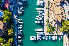 Aerial View Of Rows Of Boats At Marina Of Santa Ponca, Mallorca