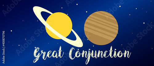 Canvastavla Great conjunction 2020 The conjunction of the planets of Saturn and Jupiter vect
