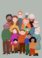 Clip Art Of Multi-generation Family Posing Together For Photo