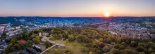 Germany, North Rhine-Westphalia, Wuppertal, Aerial Panorama Of Hardt Park At Sunset