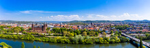 Germany, Bavaria, Aschaffenburg, Helicopter Panorama Of Riverside Town In Summer