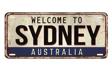 Welcome To Sydney Vintage Rusty Metal Plate