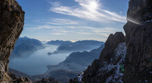 Panoramic View On Lake Como From The Mountains, Italy