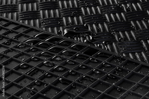 Obraz Details of high quality winter car mats with water drops - fototapety do salonu
