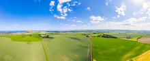 UK, Scotland, North Berwick, Aerial Panorama Of Countryside Fields And Town In Summer