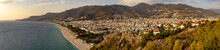 Western Alanya, Tyrkey Panorama In High Resolution Observed From A Fortress Of Alanya With Famous Cleopatra Beach On A Shore.