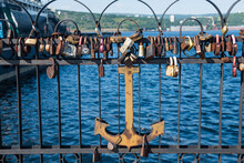 Russia, Murmansk, Love Locks And Anchor On Bridge