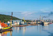 Russia, Murmansk, Rusatom, Ships And Cranes At Port