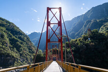Taiwan, Hualien County, Taroko National Park, Huge Bridge In Tianxiang Recreational Area