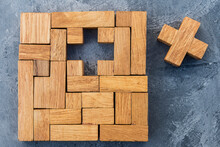 Wooden Puzzle With Single Missing Piece