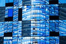 USA, New York State, New York City, Glass Facade Of Skyscraper