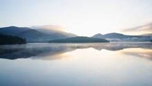 USA, New York, Sunrise Over Lake Placid