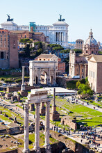 Roman Forum And Monument Of Vittorio Emanuele II Against Sky