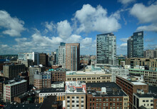 Massachusetts, Boston, City Skyline With Clouds