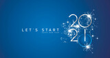 Start of Happy New Year 2021 silver white shining stars rounded typography blue background banner and turn on button icon