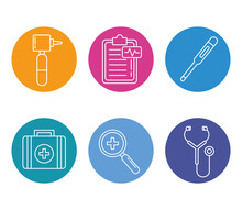 Bundle Of Six Doctor Kit Line Style Set Icons Vector Illustration Design