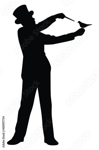 Foto Magician silhouette vector on white