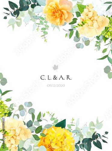 Fotografie, Obraz Yellow hydrangea, mustard rose, peony, white iris, orchid, spring garden flowers