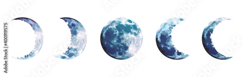 Fototapeta Magic blue moon phases vector design set obraz