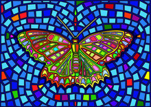 Butterfly Stained Glass Mosaic Blur Background Illustration Vector