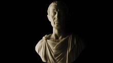 Julius Caesar Marble Statue Bust On Black Background