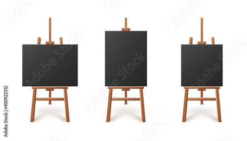 Photo Black artboards or canvas standing on easels, 3d vector illustration isolated