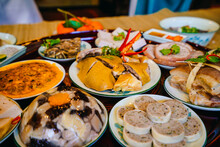 Traditional Cuisine At Tet Holiday Of Vietnam Family. Amazing Of Vietnamese Food For Tet Holiday In Spring, It Is Traditional Food On Lunar New Year