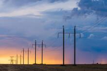 Rural Landscape With High-voltage Line On Sunset